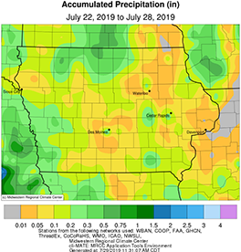 Average precipitation across the state of Iowa between July 22-28, 2019