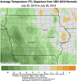 Average temperature across the state of Iowa between July 22-28, 2019