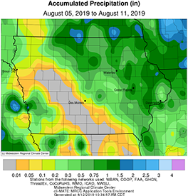 Average precipitation in the state of Iowa from August 5-11, 2019