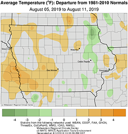 Average temperature in the state of Iowa between August 5-11, 2019