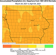 Precipitation map of Iowa