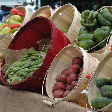 photo of baskets of vegetables